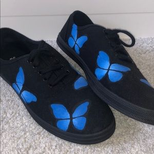 Hand Painted Butterfly Sneakers (Black and Blue)